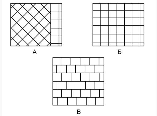 Схемы укладки кафеля: А – по диагонали, Б – Шов в шов, В – В разбежку.