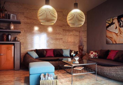 Комната с декоративными элементами в тематике эклектика