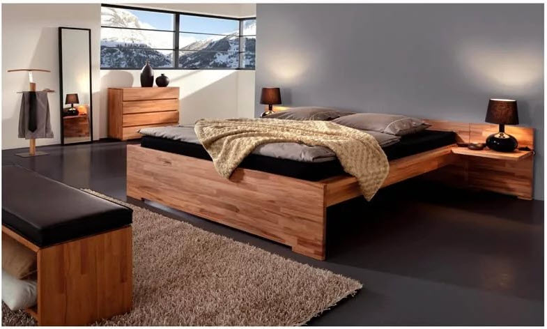 Кровати из массива дерева для спальни